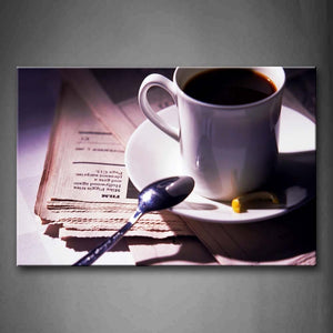 A Cup Of Coffee With Newspaper Spoon Wall Art Painting The Picture Print On Canvas Food Pictures For Home Decor Decoration Gift