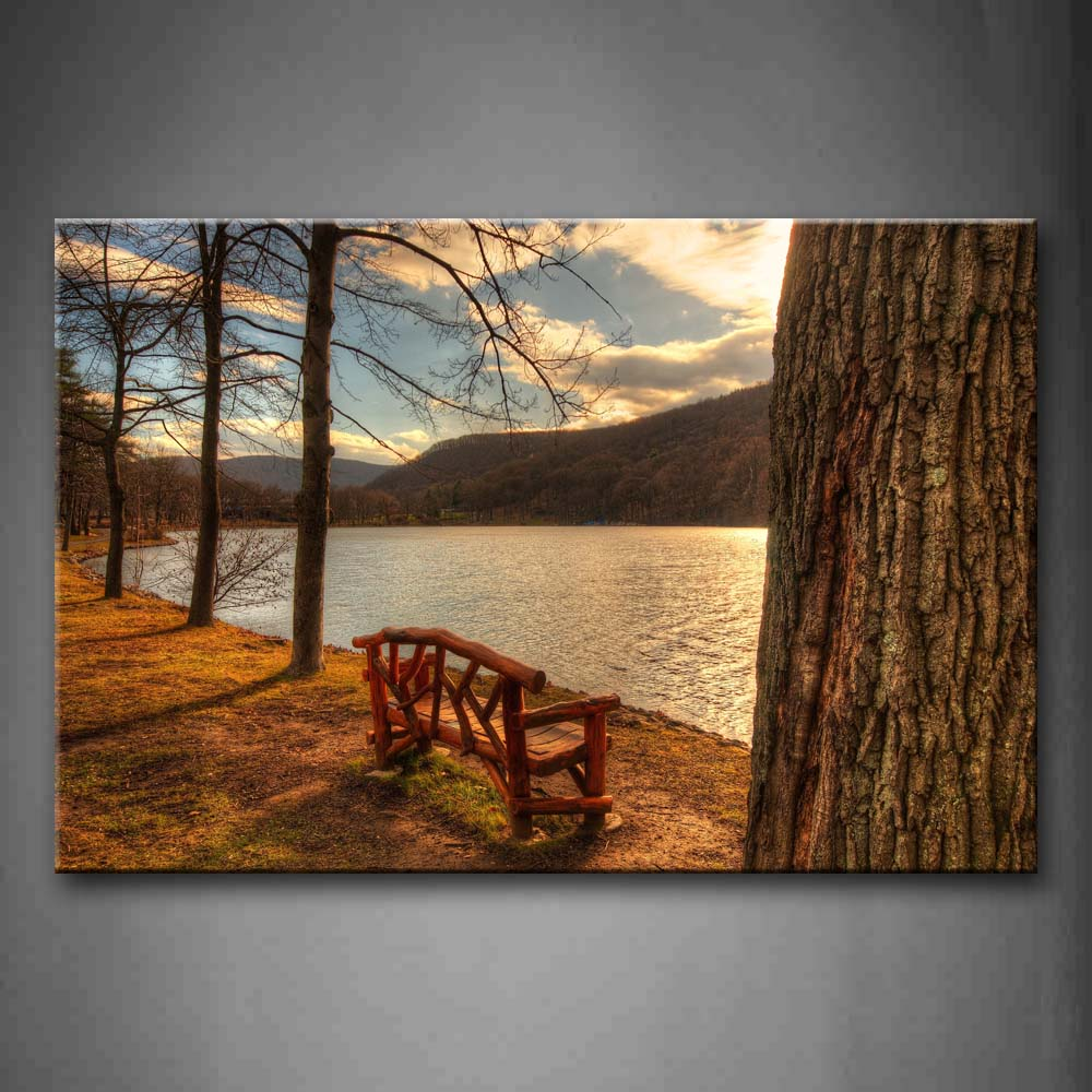 Bench Near Tree And Lake Wall Art Painting The Picture Print On Canvas City Pictures For Home Decor Decoration Gift