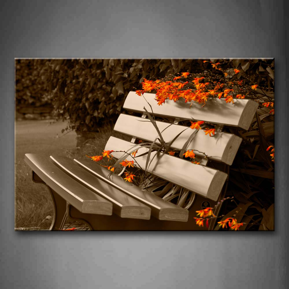 Bench With Some Orang Flowers Wall Art Painting The Picture Print On Canvas City Pictures For Home Decor Decoration Gift