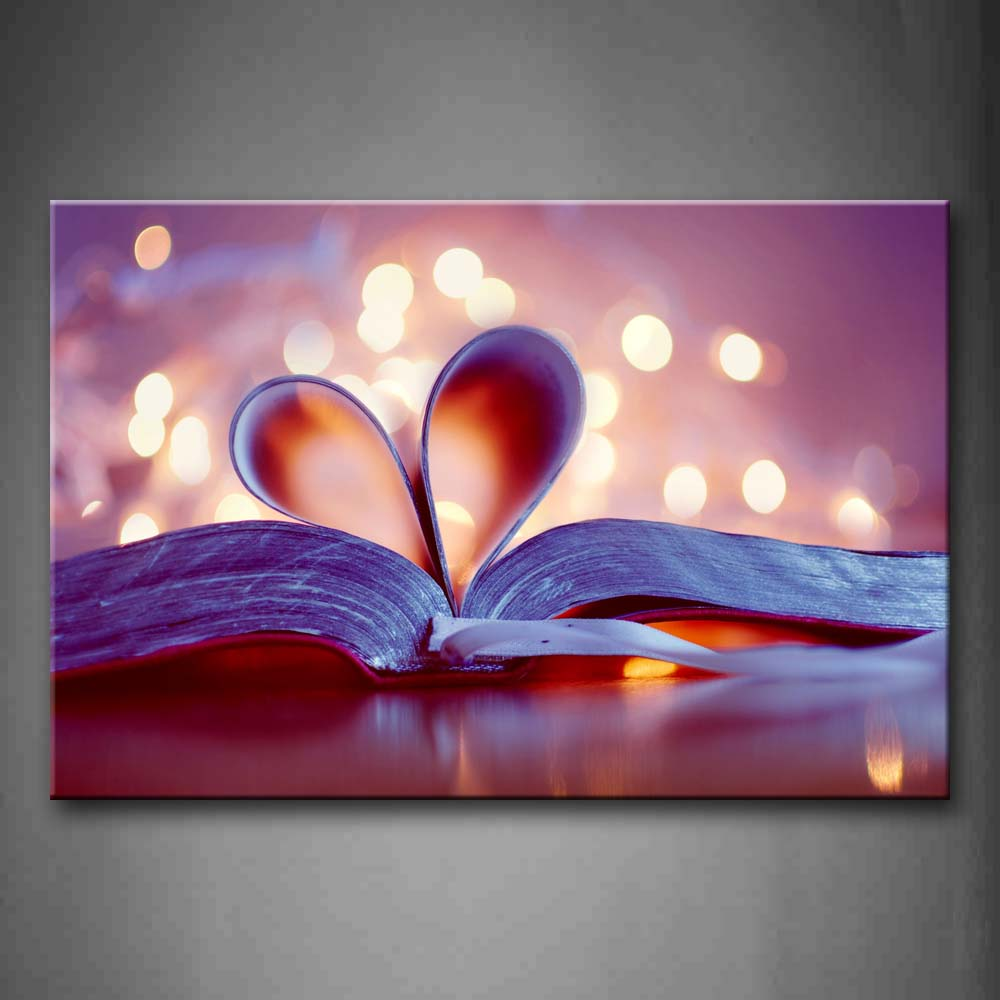 Beautiful Halo Thick Book With Heart In The Middle Wall Art Painting The Picture Print On Canvas Art Pictures For Home Decor Decoration Gift