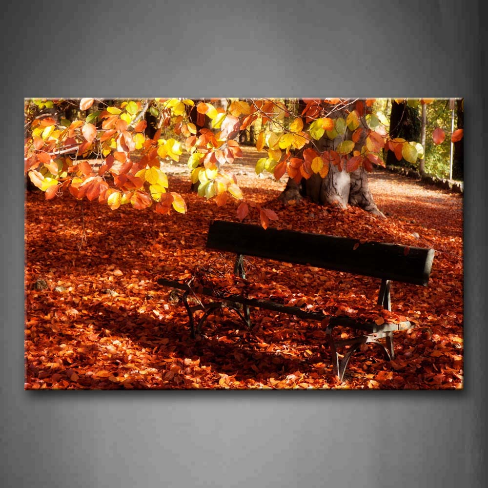 Bench Leaves Piled Up On The Ground  Wall Art Painting Pictures Print On Canvas City The Picture For Home Modern Decoration
