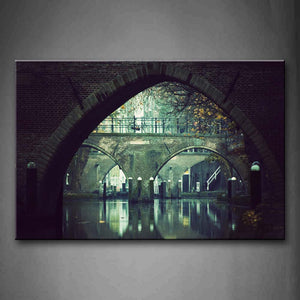 Big Arches Of Bridge Above Quiet Water Wall Art Painting Pictures Print On Canvas City The Picture For Home Modern Decoration