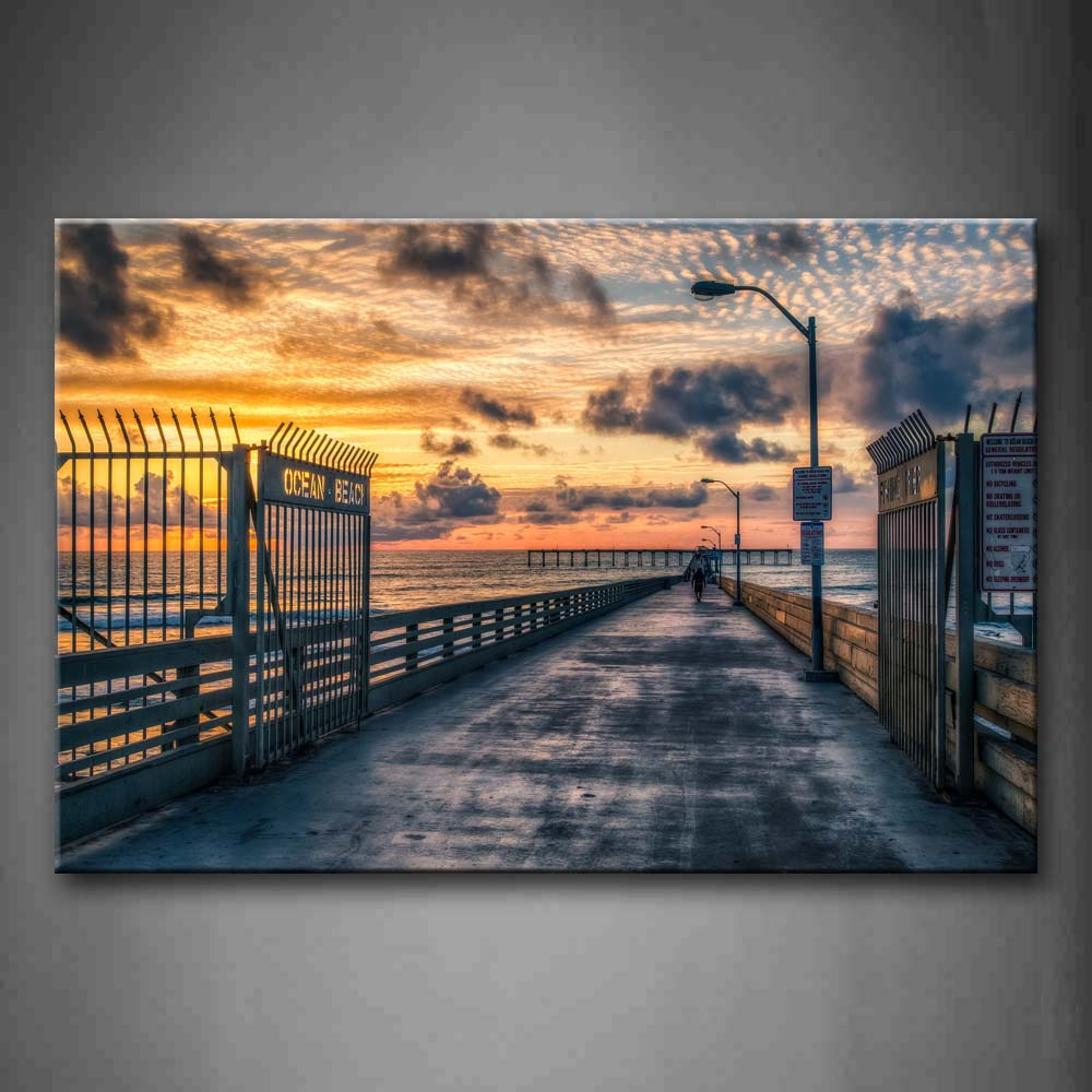 Beautiful Sky Flat Pier With Iron Door Wall Art Painting The Picture Print On Canvas City Pictures For Home Decor Decoration Gift