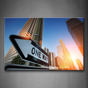 Beautiful Skyscrapers In The City With Huge Sign Wall Art Painting The Picture Print On Canvas City Pictures For Home Decor Decoration Gift