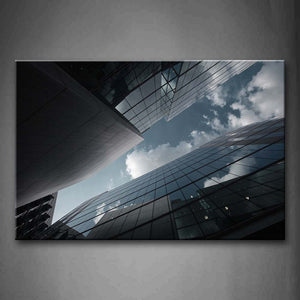 Black And White Narrow Sky Above Skyscrapers Wall Art Painting Pictures Print On Canvas City The Picture For Home Modern Decoration