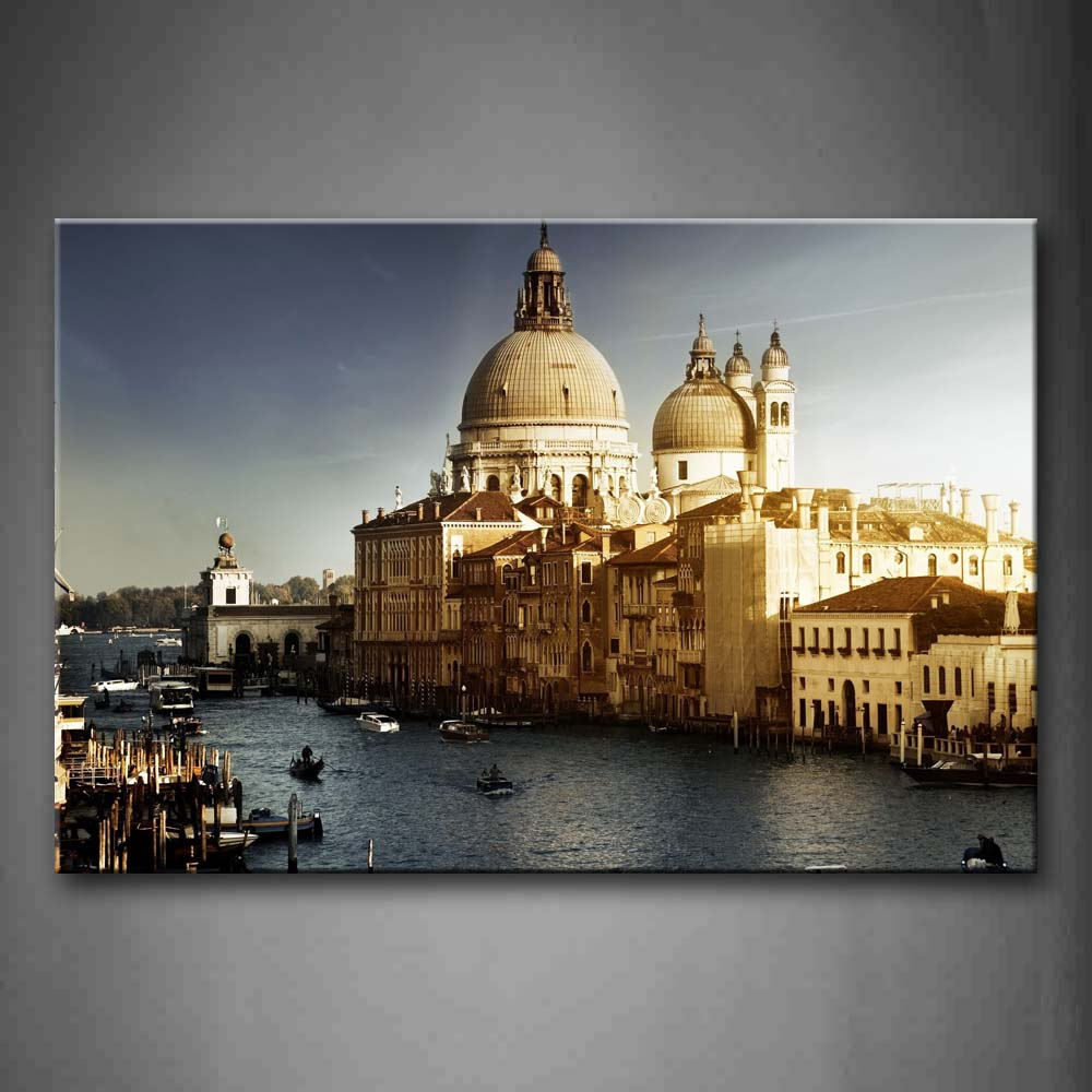 Beautiful Constructions And Lake Wall Art Painting The Picture Print On Canvas City Pictures For Home Decor Decoration Gift