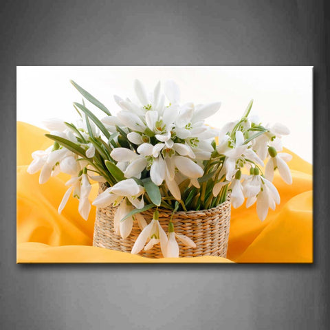 Yellow Orange White Flowers In Woven Basket Wall Art Painting The Picture Print On Canvas Flower Pictures For Home Decor Decoration Gift