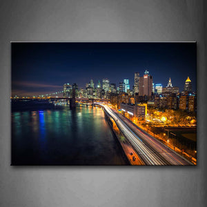 A Long Road Near Sea And City At Night Wall Art Painting Pictures Print On Canvas City The Picture For Home Modern Decoration
