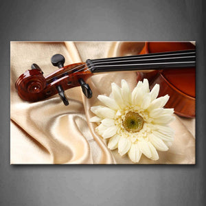 White Flower Violin On White Cloth Wall Art Painting Pictures Print On Canvas Music The Picture For Home Modern Decoration