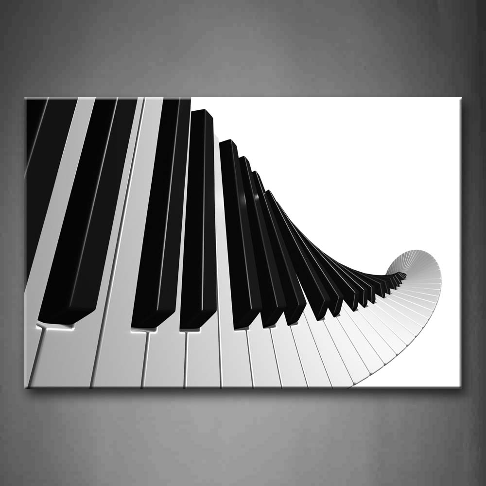 Artistic Keyboard Of Piano In White And Black Wall Art Painting The Picture Print On Canvas Music Pictures For Home Decor Decoration Gift