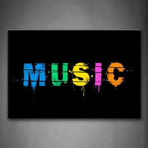 Word Music Letters In Different Color Wall Art Painting Pictures Print On Canvas Music The Picture For Home Modern Decoration