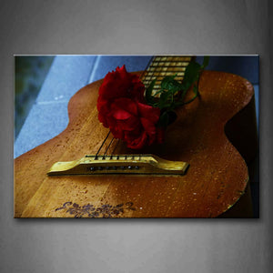 Water Drops On Guitar And Rose In Red Wall Art Painting Pictures Print On Canvas Music The Picture For Home Modern Decoration