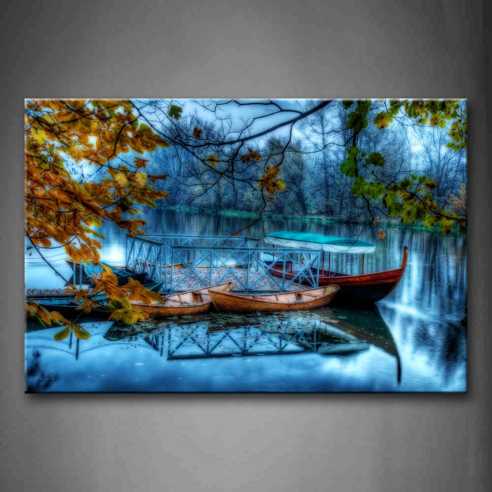 Beautiful Trees And Little Boats On Water Wall Art Painting The Picture Print On Canvas Seascape Pictures For Home Decor Decoration Gift