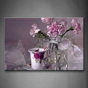 Beautiful Flowers In Pink And Cup On Desk Wall Art Painting Pictures Print On Canvas Flower The Picture For Home Modern Decoration