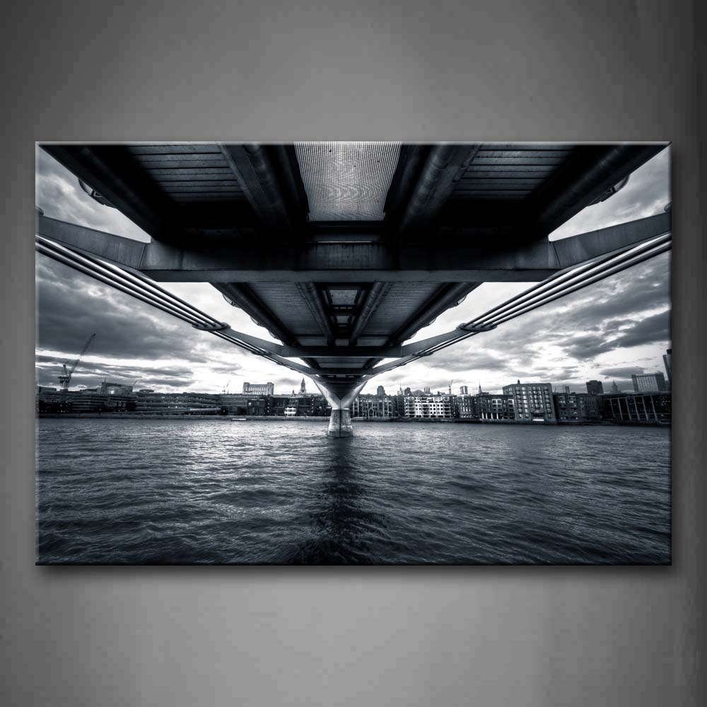 Black And White Buildings And Wide River Under Bridge Wall Art Painting The Picture Print On Canvas City Pictures For Home Decor Decoration Gift