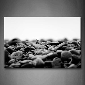 Black And White Little Man On The Stone In Stone Pile Wall Art Painting The Picture Print On Canvas City Pictures For Home Decor Decoration Gift