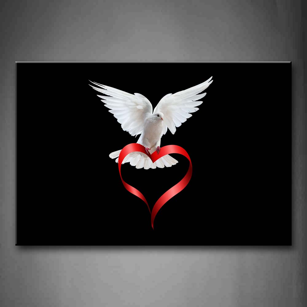 Bird Of Peace With Heart Shape Colour Ribbon Wall Art Painting Pictures Print On Canvas Art The Picture For Home Modern Decoration