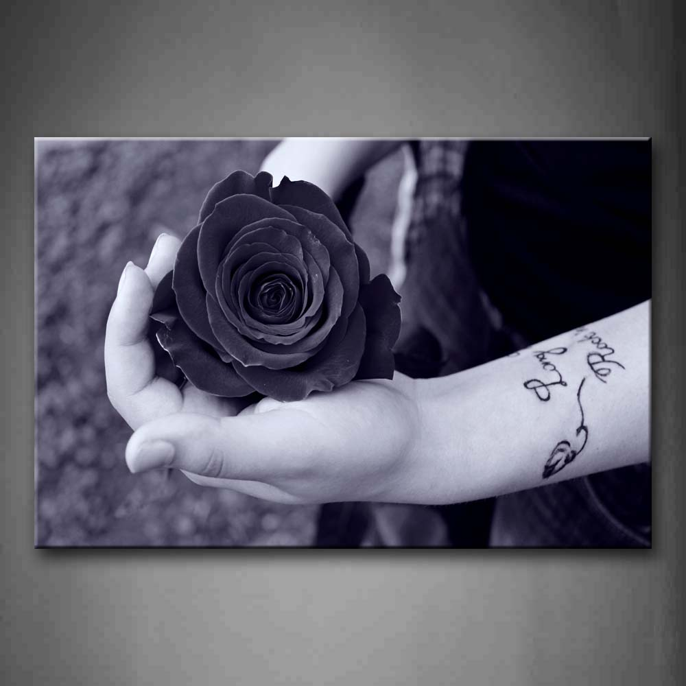 Black And White Hands With Special Tattoo Holds A Flower Wall Art Painting Pictures Print On Canvas Art The Picture For Home Modern Decoration