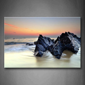 Big Rock In Sea At Dusk  Wall Art Painting Pictures Print On Canvas Seascape The Picture For Home Modern Decoration