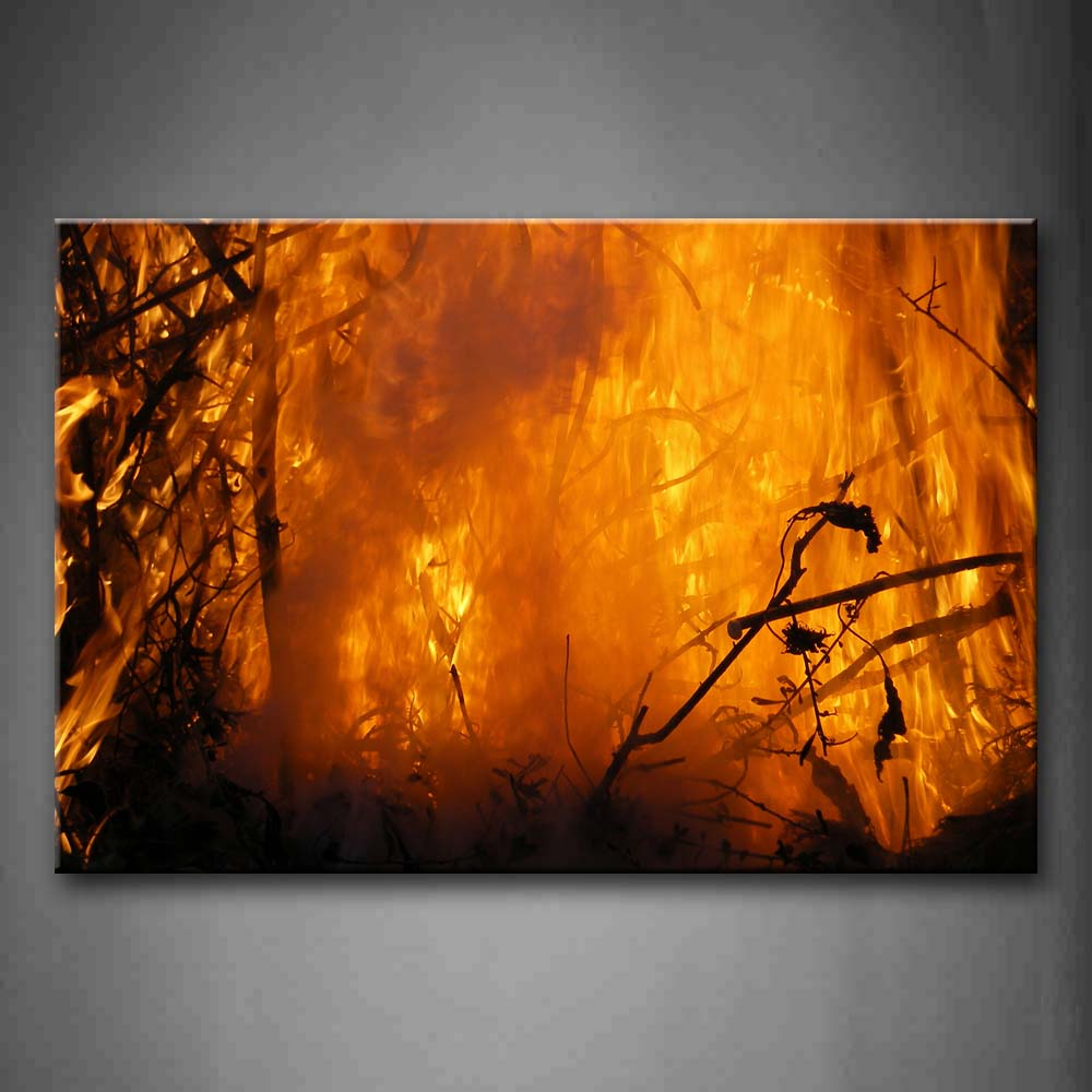 Big Fire In Forest  Wall Art Painting The Picture Print On Canvas Art Pictures For Home Decor Decoration Gift