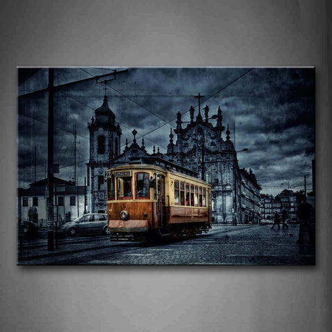 Yellow Train And Old Building Wall Art Painting The Picture Print On Canvas City Pictures For Home Decor Decoration Gift