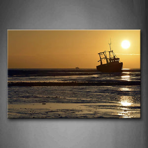 Big Boat On Sea With Sunrise  Wall Art Painting Pictures Print On Canvas Seascape The Picture For Home Modern Decoration