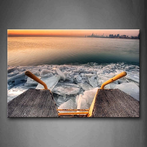 Yellow Stair And Ice In River  Wall Art Painting The Picture Print On Canvas Seascape Pictures For Home Decor Decoration Gift