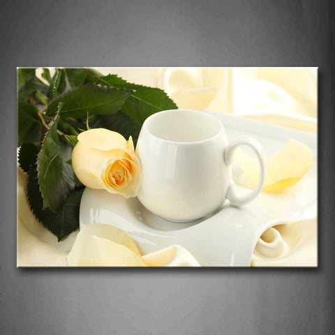 Yellow Rose Beside Cup  Wall Art Painting The Picture Print On Canvas Art Pictures For Home Decor Decoration Gift