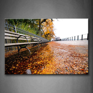 Yellow Trees And Fallen Leaves In Autumn Wall Art Painting Pictures Print On Canvas Landscape The Picture For Home Modern Decoration