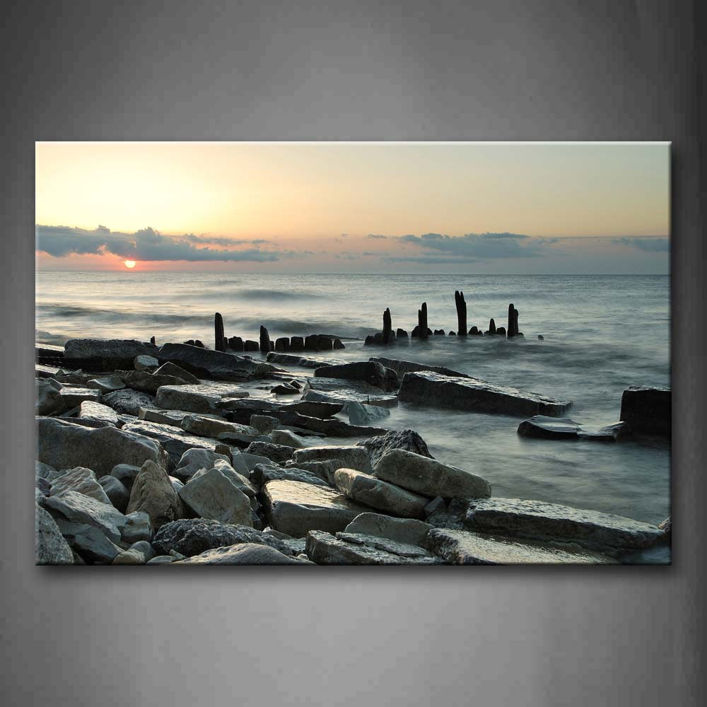 Big Stones In Sea  Wall Art Painting The Picture Print On Canvas Seascape Pictures For Home Decor Decoration Gift