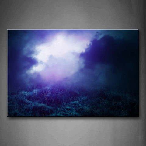 Blue Fog In Mountain With Grass  Wall Art Painting Pictures Print On Canvas Landscape The Picture For Home Modern Decoration