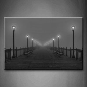 Benches And Street Lamp  Wall Art Painting Pictures Print On Canvas Landscape The Picture For Home Modern Decoration