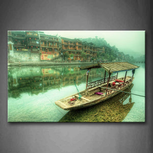 Boat On River And Old Houses In Shore  Wall Art Painting The Picture Print On Canvas Landscape Pictures For Home Decor Decoration Gift