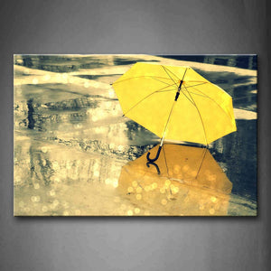 Yellow Unbrella On Land  Wall Art Painting The Picture Print On Canvas Art Pictures For Home Decor Decoration Gift