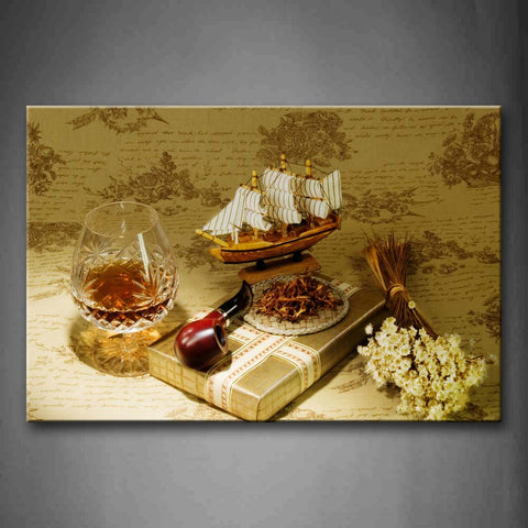 Brown Sailing Model And Glass Flowers  Wall Art Painting Pictures Print On Canvas Flower The Picture For Home Modern Decoration