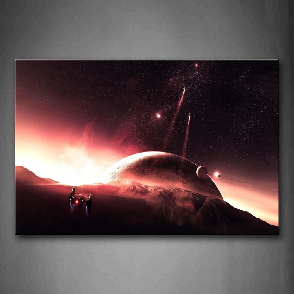 A Space Ship  Wall Art Painting Pictures Print On Canvas Space The Picture For Home Modern Decoration