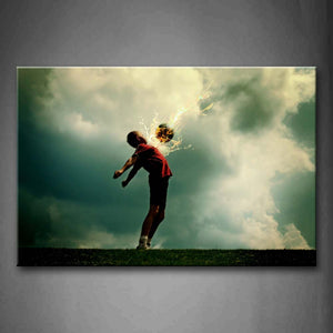 A Kid And Soccer Surrounded By Fire  Wall Art Painting Pictures Print On Canvas Art The Picture For Home Modern Decoration