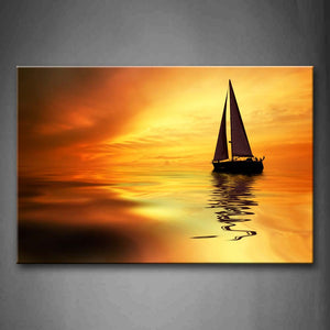 Yellow Orange The Sailing Looks Beautiful When Sunset  Wall Art Painting Pictures Print On Canvas Car The Picture For Home Modern Decoration