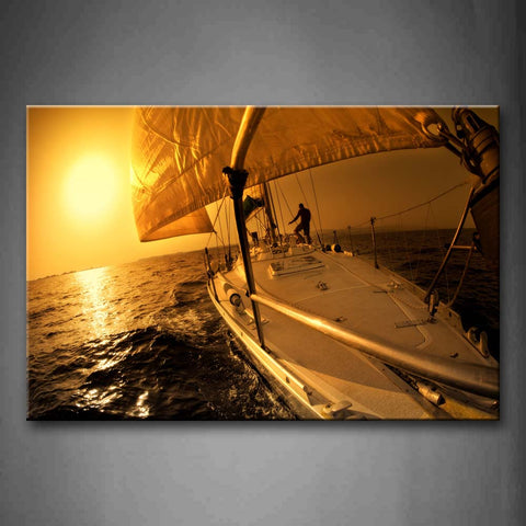 Yellow Orange Sailing Over And Sunset  Wall Art Painting The Picture Print On Canvas Car Pictures For Home Decor Decoration Gift