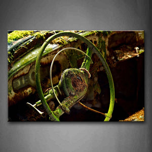 Wreck Steering Wheel With Moss On It Wall Art Painting Pictures Print On Canvas Car The Picture For Home Modern Decoration
