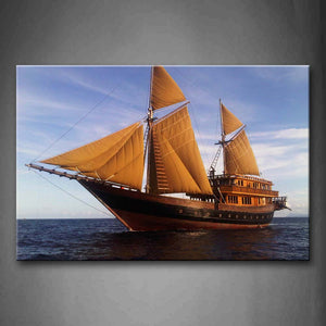 Yellow Sailing Ship Over Quiet Water Wall Art Painting Pictures Print On Canvas Car The Picture For Home Modern Decoration