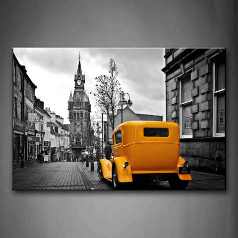 A Car In The Old Street And The Clock Tower London Wall Art Painting Pictures Print On Canvas Car The Picture For Home Modern Decoration