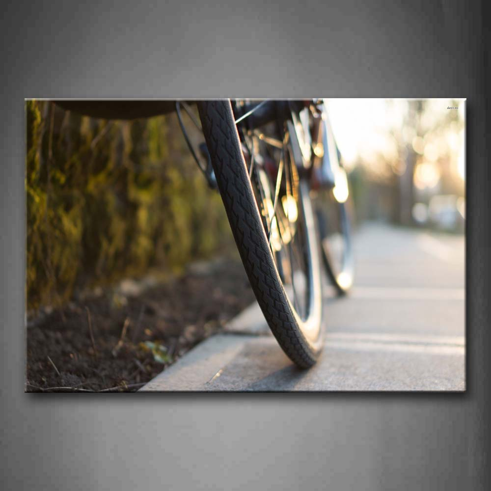 Bicycle Wheels On The Road Wall Art Painting Pictures Print On Canvas Car The Picture For Home Modern Decoration