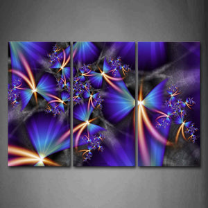Artistic Light Lines Blue Sector Wall Art Painting Pictures Print On Canvas Abstract The Picture For Home Modern Decoration