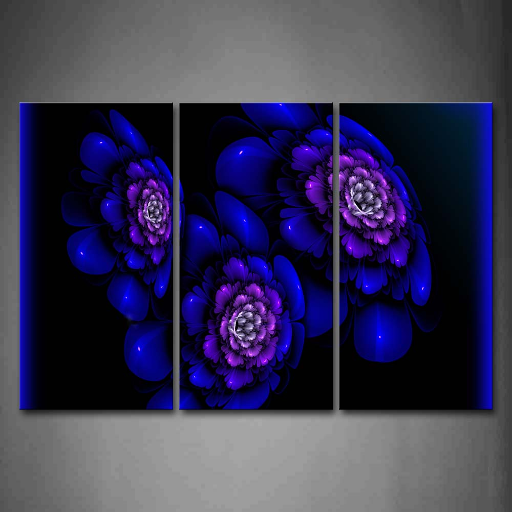 Abstract Like Blue Flower Black Background Wall Art Painting Pictures Print On Canvas Abstract The Picture For Home Modern Decoration