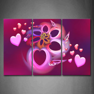 Artistic Pink Hearts Make Up A Flower Wall Art Painting The Picture Print On Canvas Abstract Pictures For Home Decor Decoration Gift