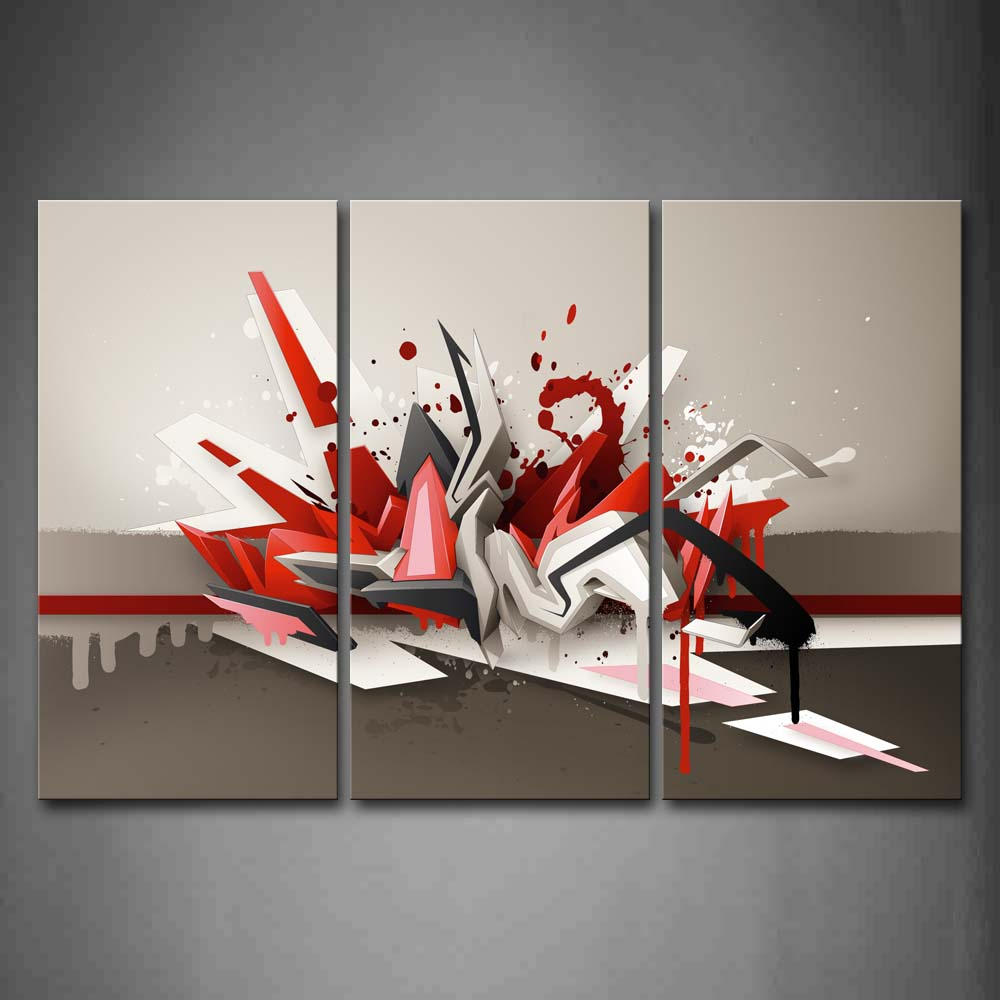 Artistic Red Gray White Wall Art Painting Pictures Print On Canvas Abstract The Picture For Home Modern Decoration