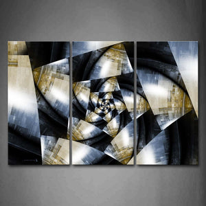 Artistic Dark Blue Yellow Like Flower Wall Art Painting Pictures Print On Canvas Abstract The Picture For Home Modern Decoration