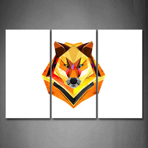 Yellow Orange White Background Like A Colorful Wolf Wall Art Painting The Picture Print On Canvas Abstract Pictures For Home Decor Decoration Gift