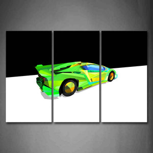 Black And White Background A Green Car Wall Art Painting The Picture Print On Canvas Abstract Pictures For Home Decor Decoration Gift